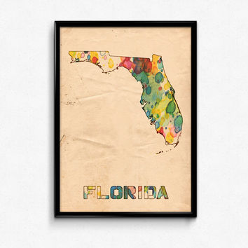Florida Map Poster Watercolor Print - Fine Art Digital Painting, Multiple Sizes - 12x18 to 24x36 - Vintage Paper Colors Style