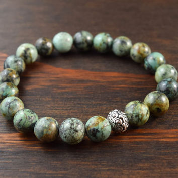 Men's African Turquoise Bracelet. Men's 10mm Beaded Bracelet. Men's Fashion Bracelet. Men's Yoga Bracelet. Lotus and Lava Bracelet.
