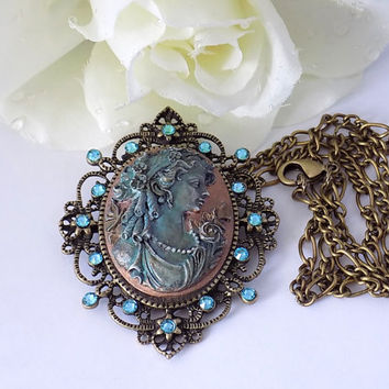 Victorian Style Cameo Necklace Hand Painted Cameo Victorian Lady Cameo Romantic Victorian