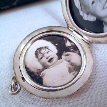 Vintage STERLING PHOTO LOCKET Pendant Large Two Photo Sterling Silver Locket Pendent Monogram RhL Old Photos