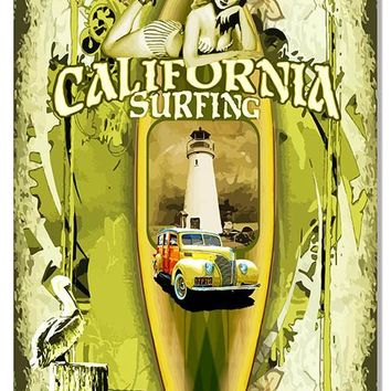 California Surfing Nostalgic Pin Up Girl Reproduction Sign 12″x 18″