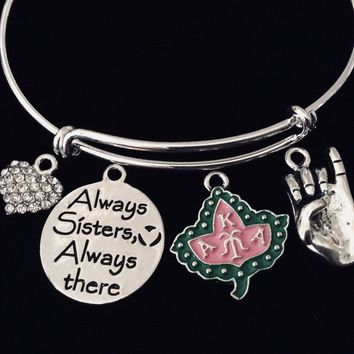 Always Sisters AKA Alpha Kappa Alpha Sorority Adjustable Charm Bracelet Expandable Silver Wire Bangle Ivy Pinky Gift One Size Fits All