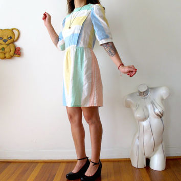 "l 70s pbj jerell dress color block striped pastel loose dress waist 31"" size 5 womens large pastel goth 70s mini dress minimalist dress"