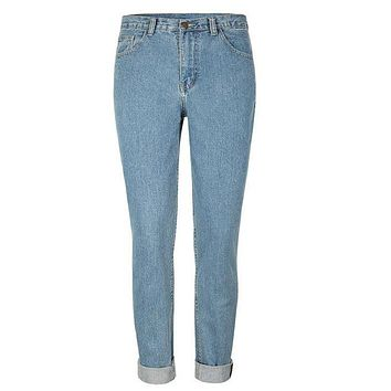 1886 Fashion European and American style High Waist Jeans Straight Boyfriend Denim Jeans For Women Pants Female Calca Jeans