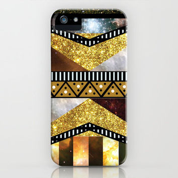 Hipster Chic Golden Fake Glitter Galaxy Aztec Photo iPhone Case by Girly | Society6