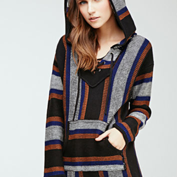 Lace-Up Striped Baja Hoodie