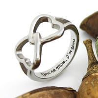 "Couples Ring Double Hearts Infinity Ring Promise Ring Wedding Ring ""You're Mine I'm Yours"""