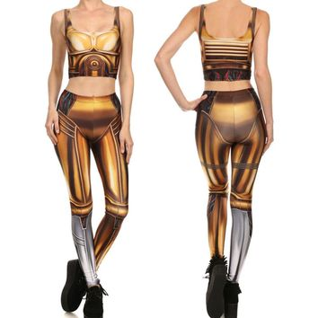 2017 New Summer New Style Leggins 2017 GOLD ROBOT LEGGINGS Hot Sale Women Leggings Digital Printed Fitness leggins