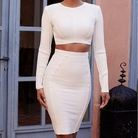 Two Piece Long Sleeve Crop Top & Skirt