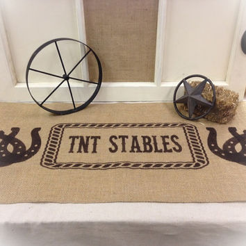 "Burlap Table Runner 12"", 14"" & 15"" wide with Horseshoes and custom Name in center of Rope"