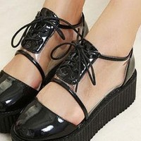 Ladies Middle Cut Lace Up Platform Heel Shoes In BLACK from NaomiShu