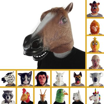 Latex Animal Mask Full Face Cosplay Mask Masquerade Fancy Dress Carnival Eagle Dog Chimp Dinosaur Mask Halloween Costume