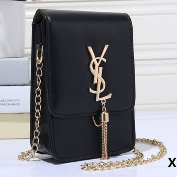 YSL Tassel Women Shopping Leather Metal Chain Crossbody Satchel Shoulder Bag H-MYJSY-BB-3