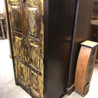 Beautiful Dark Brown Antique Cabinet Armoire Two-Shelf Vintage Storage Indian Hand Carved Furniture
