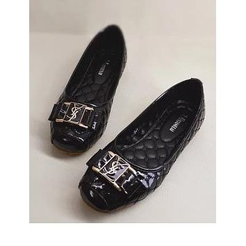 YSL Egg roll Shoes Fashion Women Shoes Comfort flat shoes Black