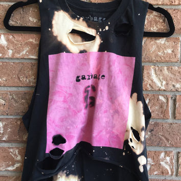 GARBAGE  bleached, distressed,cropped  band concert T  shirt, rock n roll, rock tee