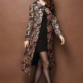 Vintage Style Long Floral Coat, Embroidery Brocade, Very Elegant, Runway Inspired,  S-5XL