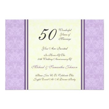 Anniversary Party 50th Purple Damask Invitation