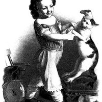 little girl dancing with cat printable art print vintage illustration digital download large image graphics black and white art