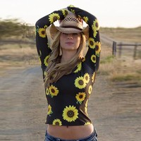 Sunflower print long sleeve shirt