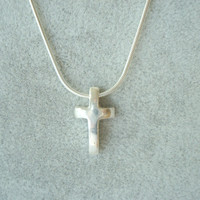 Easter. Women's Silver Cross Necklace. Hand Forged. One-of-a-Kind.