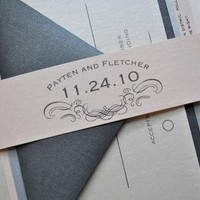 1943 Wedding Invitation Suite with Belly Band  Pale by lvandy27