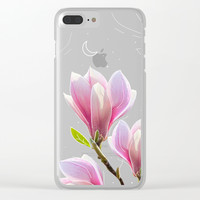 Pink Magnolias Art Clear iPhone Case by lostanaw