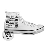 All Logo One Direction 5 Seconds Of Summer White shoes New Hot Shoes