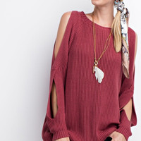 Cold Shoulder Raspberry Knit Sweater Tunic