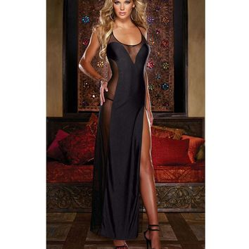 On Sale Cute Hot Deal Sexy Black See Through Ankle Club Split Prom Dress Exotic Lingerie [6595696579]