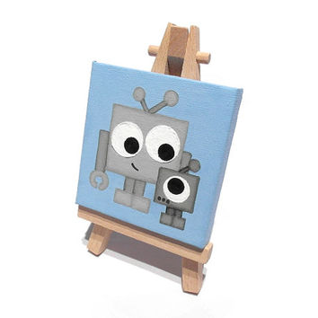 Cute Robot Miniature Art - acrylic painting on mini canvas with easel