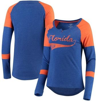NCAA Florida Gators Colosseum Women's Routine Raglan Henley Long Sleeve T-Shirt