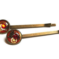 Red Steampunk Hairpins with Watch Parts - Steampunk Bobby Pins - Steampunk Hair Pins