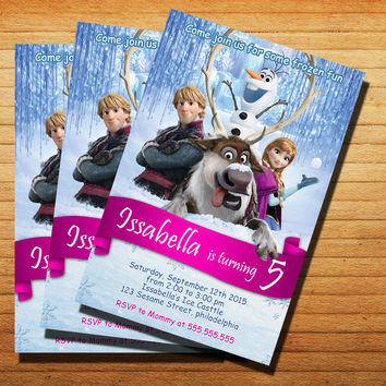 Disney Frozen Invitation Inspired Invitation Cards 4x6, 5x7, Customized