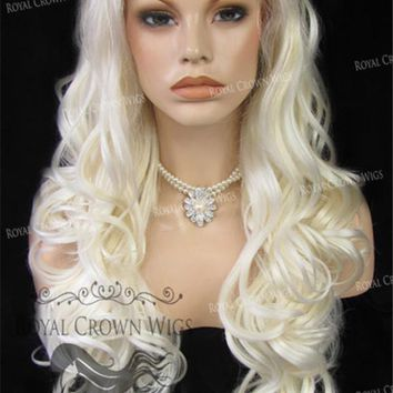 """26"""" Heat Safe Synthetic Lace Front in Curly Texture """"Calypso"""" in White/Platinum Blonde Mix"""