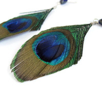 Feather Earrings Peacock Feather Earrings by donaarg on Etsy