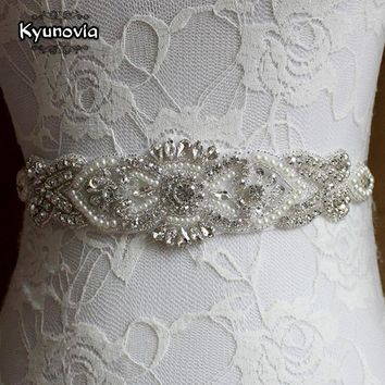 Kyunovia Crystal Pearl Wedding Belt Beaded Wedding Sash Bridal Belt Bridal Sash Prom Dress Waistband Custom Color Sash Belt FB25