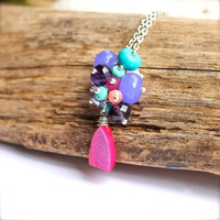 Pink Druzy Jewelry from Hawaii Drusy Stone Gemstone necklace with bead cluster by Mermaid Tears