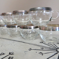 Punch Cup Egg Nog Cup Party Cup Coffee Cup Sterling Band Drinking Cup Dorothy Thorpe Silver Band Madmen Mid Century Glassware Tom and Jerry