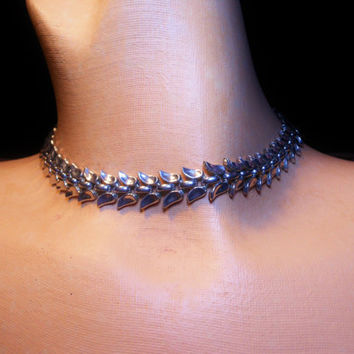 Trifari pat pend 1930s or 1940s silver leaf choker highly collectible