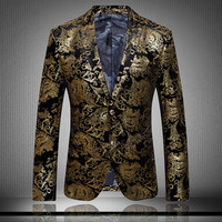 2015 new autumn and winter male quality flannelet suits decorative pattern personality blazer singer dancer stars performance