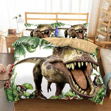 Cilected 3D Dinosaur Duvet Cover Set 2/3Pcs With Pillowcases King Queen Bedding Size Animal For Kids Bedroom Bedspreads