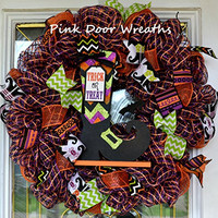 Witch Boot Shoe Trick or Treat Halloween Deco Mesh Door Wreath; Black White Purple Orange Lime Green