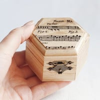 """Small hexahedral rustic style wedding box with a music sheet """"Light Harmony"""" - Natural wood, ring bearer, rustic, vintage, ecofriendly"""