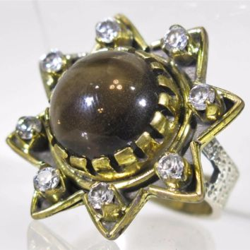 Retro Two Toned 8.62CT Round Cabochon Smoky Topaz Star Ring Size 6 with White Sapphire Accents