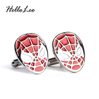 The Amazing Spider-Man Men's Jewelry SuperHero SPIDERMAN mask French Cuff Links Wedding Gift High Quality
