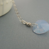 Blue Opal Heart Necklace Swarovski Heart Pendant Air Blue Opal Sterling Silver Wire Wrapped Crystal Heart Modern Heart Necklace Light Blue
