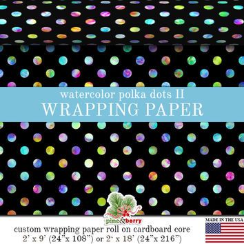 Watercolor Polka Dots Wrapping Paper | Pastel Watercolor Polka Dot Gift Wrap On Black Matte Finish 9 ft. or 18 ft. Rolls For Any Occasion.