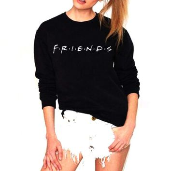 Vsenfo Friends Sweatshirt Women Casual Friends TV Show Sweatshirt 90s Clothing Tumblr Jumper Tops Harajuku Movie Hoodies Vadim