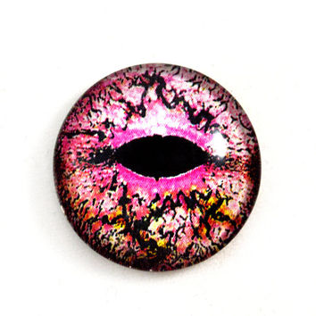 25mm Pink Lizard or Dragon Glass Eye Cabochon Fantasy Animal Jewelry or Doll Making or Taxidermy Crafting 1 inch